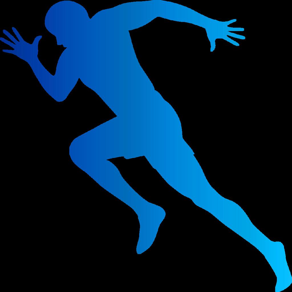 走る男性のシルエット