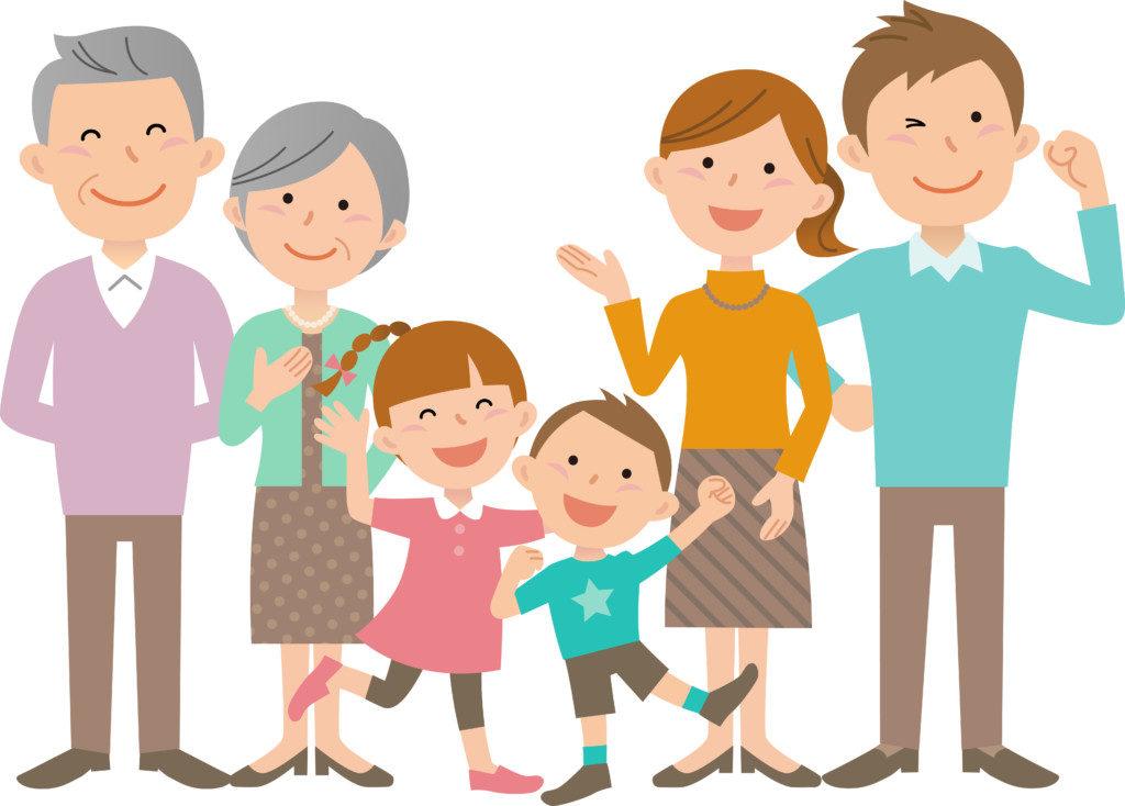 にこやかな家族の画像