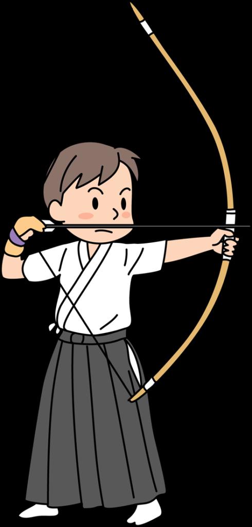 弓矢をひく男性